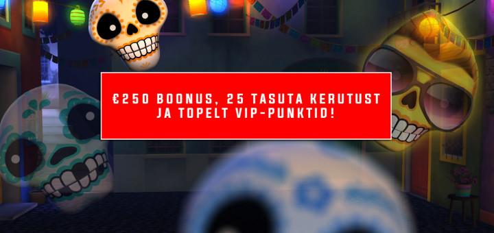 Optibet annab €250 boonuse, 25 tasuta keerutust ja topelt VIP-punktid
