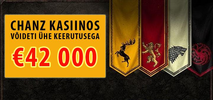 Chanz Kasiinos võideti ühe keerutusega 42 000 eurot!