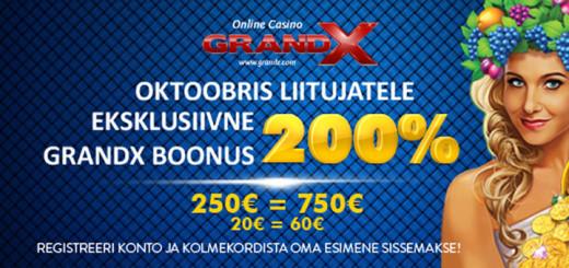 GrandX Casino eksklusiivne boonus