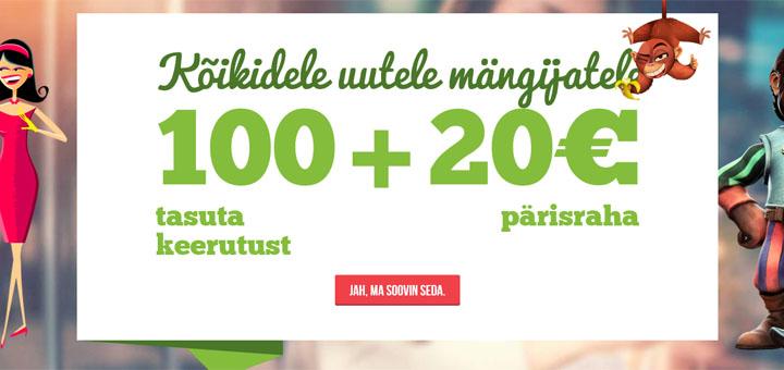 Paf tasuta keerutused ja 20 eurot tasuta raha