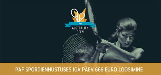Paf spordiennustus - Australian Open 666 euro loos iga päev