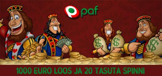 Pafis 1000 eurot loosis ja tasuta spinnid