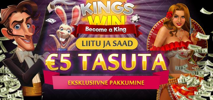 Kingswin kasiinos 5 eurot tasuta boonusraha