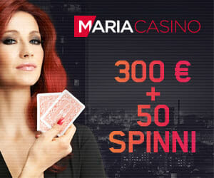 Maria Casino Boonus - boonuskood KASIINOD-300 annab VIP boonuse summas kuni €300