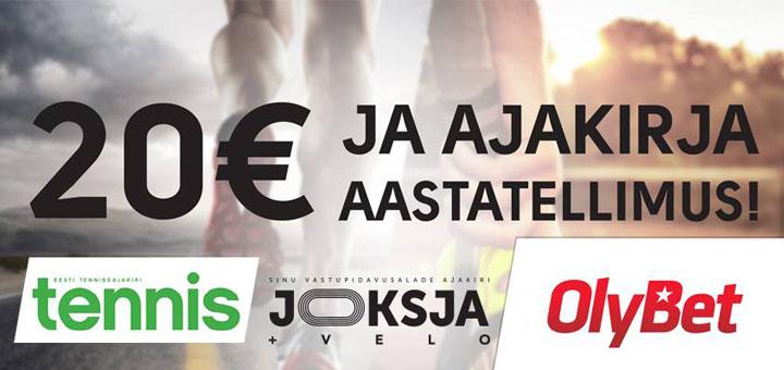 OlyBet kasiino - 20 eurot tasuta boonusraha ja spordiajakirja aastatellimus