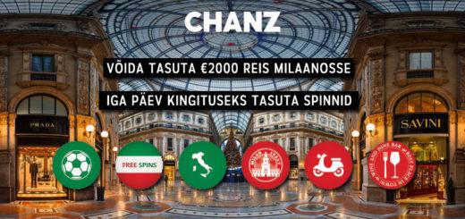 Chanz Kasiino - võida reis Milaanosse ja tasuta spinnid iga päev
