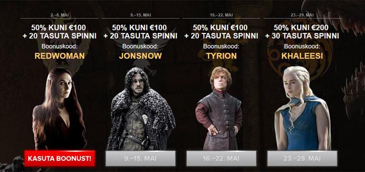 Optibet Kasiino Game of Thrones boonused ja tasuta spinnid