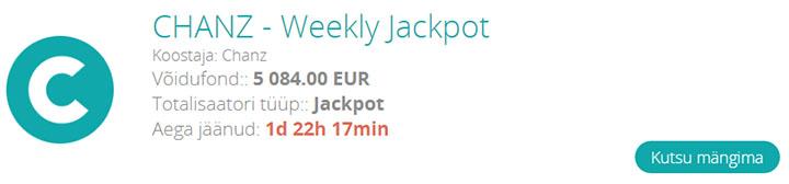 Chanzpool Weekly Jackpot - Chanz Spordiennustuse iganädalane €5000 jackpot