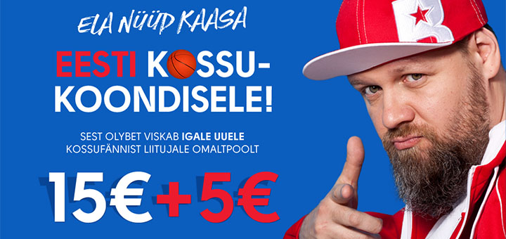 OlyBet boonuskood KOONDIS tasuta 20 eurot Eesti korvpallikoondisele kaasa elamiseks