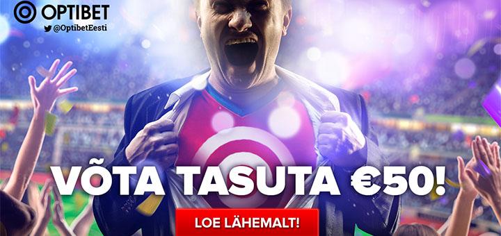 Optibet Eesti annab sulle liitumisel tasuta 50 eurot