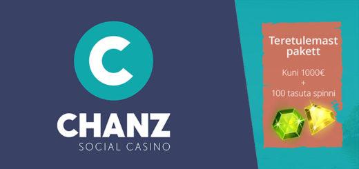 Chanz Social Casino Eesti uued boonused - 1000 euro kasiino boonus ja tasuta spinnid