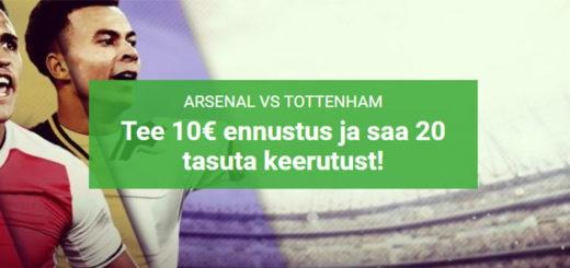 Arsenal vs Tottenham - spordiennustus ja tasuta spinnid