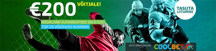 Coolpickz tasuta spordiennustus - iga nädal auhinnafondis 1500 eurot