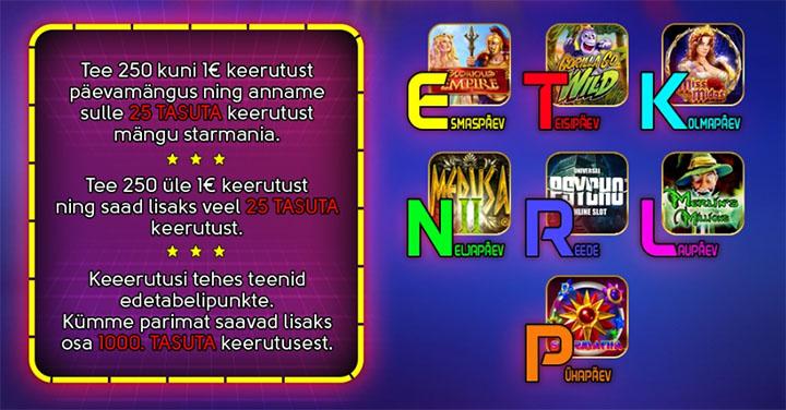 OlyBet Starmania päevamängud ja tasuta spinnid
