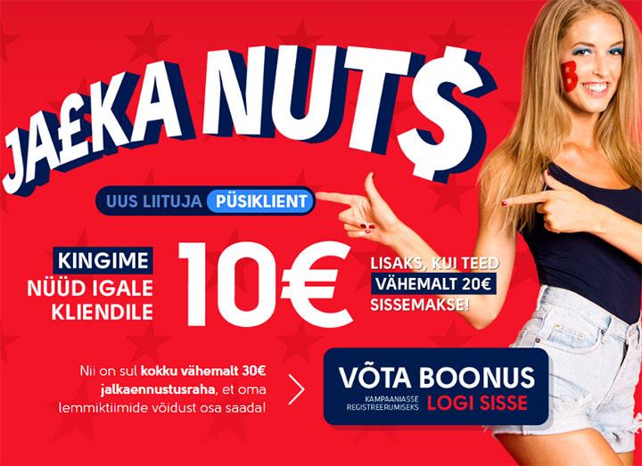 OlyBet Jalka Nuts - püsikliendile 10 eurot tasuta ennustusraha