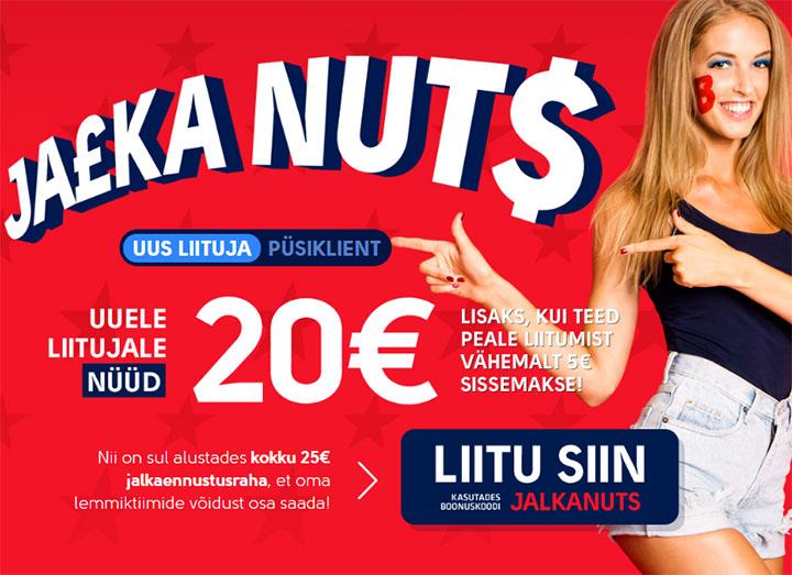 OlyBet Jalka Nuts - uuele liitujale 20 eurot tasuta ennustusraha