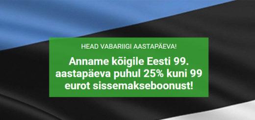 Unibet Eesti Vabariigi 99 sünnipäeva sissemakseboonus