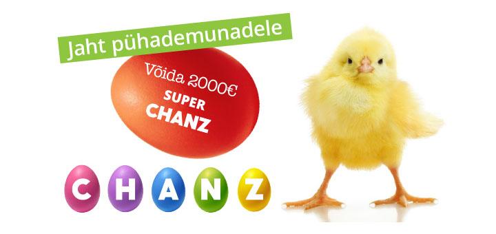 Chanz munapühade loos - võida 2000 eurot ja tasuta spinnid