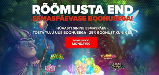 Optibet kasiinos igal esmaspäeval kuni 50 eurot sissemakse boonus