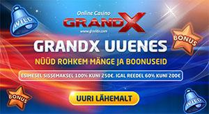 GrandX Online Casino - €250 boonus ja uued mängud