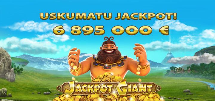 Olybet kasiino uskumatu jackpot summas 6 895 000 eurot mängus Jackpot Giant
