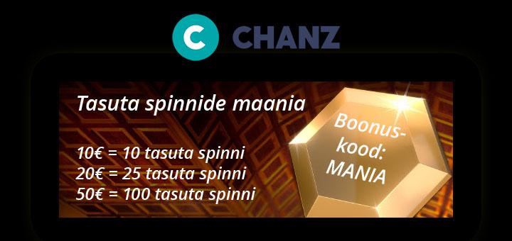 Chanz Social Casino tasuta spinnide Mania boonuskood