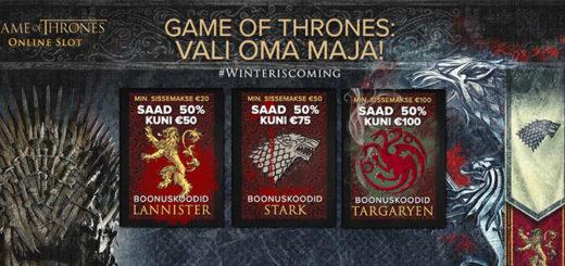 Game of Thrones boonused Optibet Eesti kasiinos