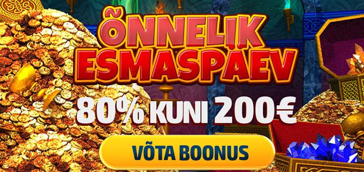 GrandX Online Casino õnnelik esmaspäev - 80% kuni €200 boonus