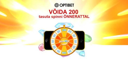 Optibet kasiino õnneratas - keeruta ja saad koheselt tasuta spinnid