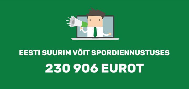 Eesti suurim spordiennustuse võit - 230 000 eurot Unibet spordiennustuses