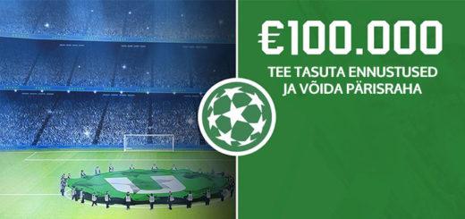 Unibet Meistrite Liiga tasuta ennustusmäng - võida €100 000 pärisraha