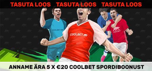 Tasuta loos - anname ära 5 X €20 Coolbet spordiboonust