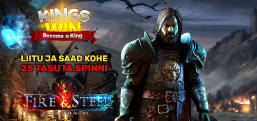 Kingswin kasiino annab uutele liitujatele koheselt 25 tasuta spinni
