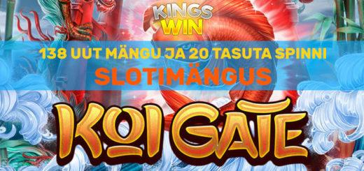 Kingswin kasiinos Habanero ja Ezugi mängud + 20 tasuta spinni mängus Koi Gate
