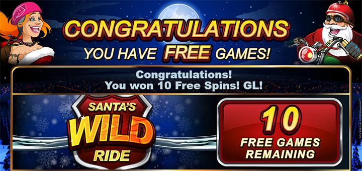 Olybet tasuta spinnid mängus Santas Wild Ride