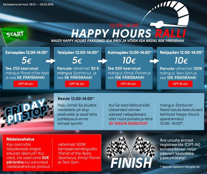 OlyBet Happy Hours ralli 2018 - panusta kasiinos ja võida iga päev pärisraha