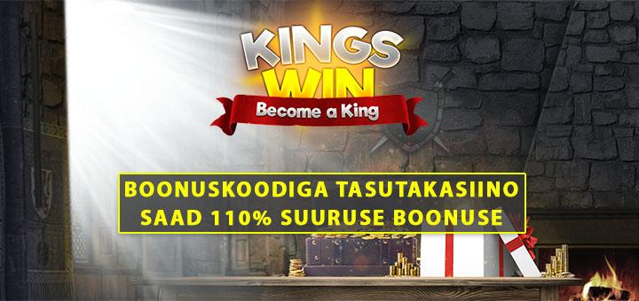 Kingswin kasiino boonuskood TASUTAKASIINO annab 110% boonust