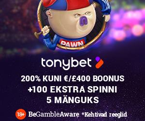 Tonybet Kasiinos liitujatele kasiinoboonus ja tasuta spinnid