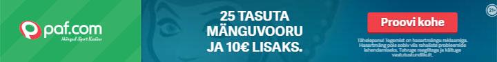 Paf kasiino - liitumisel 25 tasuta spinni ja €10