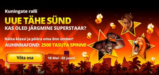 Kuningate Ralli Kingswin kasiinos - auhinnafondis 1000 tasuta spinni