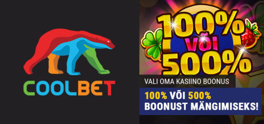 Coolbet kasiinos 500% kuni €50 kasiino boonus