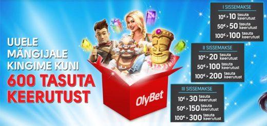 OlyBet kasiino boonus - uuele liitujale 600 tasuta spinni