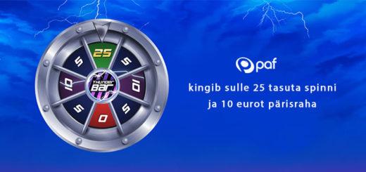 Paf kasiino - konto avamisel tasuta spinnid ja 10 eurot pärisraha