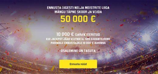 Meistrite Liiga tasuta ennustaja Unibet'is - võida tasuta €50 000 jackpot