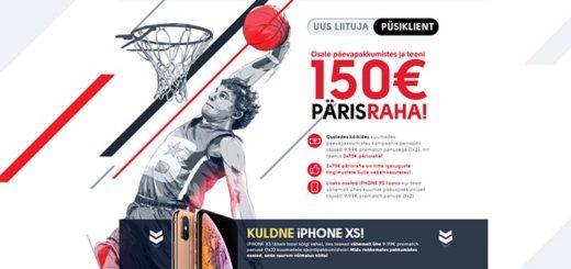 OlyBet spordiennustuse päevapakkumised - teeni €150 pärisraha ja osale iPhone XS loosis