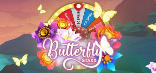 Optibet boonuskood STAXX annab kuni 500 tasuta spinni mängus Butterfly Staxx