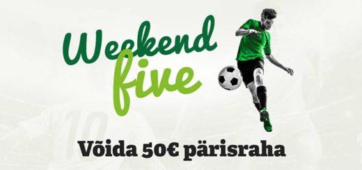 Võida Weekend Five tasuta ennustusmängus iga nädal €50 pärisraha