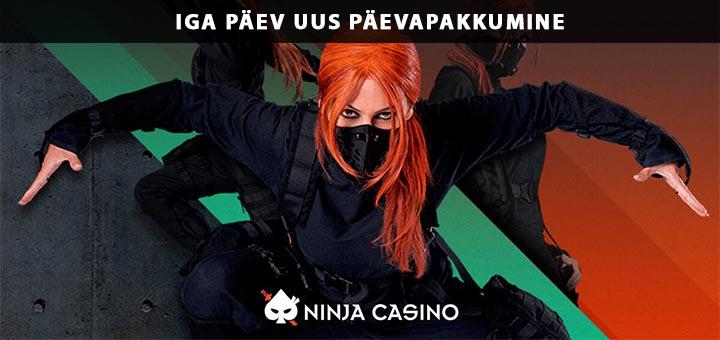 Ninja Casino Eesti päevapakkumised - tasuta spinnid ja boonused iga päev