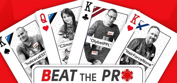 OlyBet Beat the Pro pokkeriturniir - igal kolmapäeval kuni €400 väärtuses esindusmängijate pearahasid
