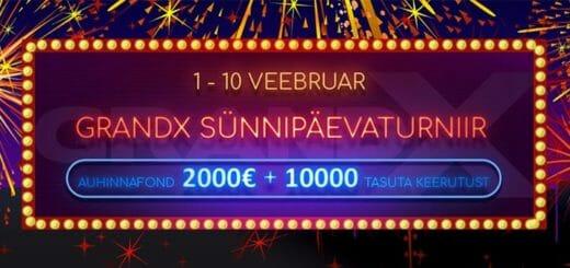 GrandX Online Casino sünnipäevaturniir - 2000 eurot + 10 000 tasuta spinni